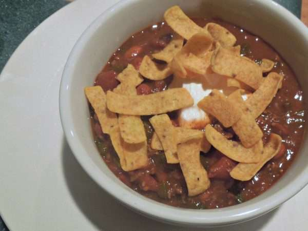 This beef and bean chili is awesome with a roasted pablano and green chilis.