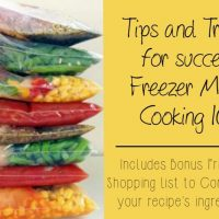 Tips on what to use, how to freeze and organize once a month cooking! Includes the best shopping list I've ever seen to plan out multiple meals and consolidate ingredients!