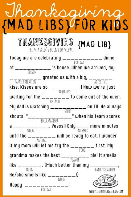 Make Thanksgiving fun with this printable Mad Libs