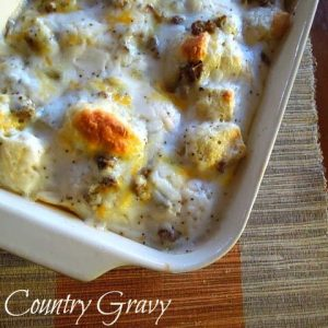 Country Gravy Breakfast Casserole, it's a perfect breakfast and so easy to make!