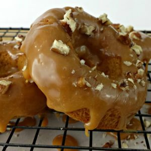 Baked Apple Donuts with a Caramel Walnut Topping