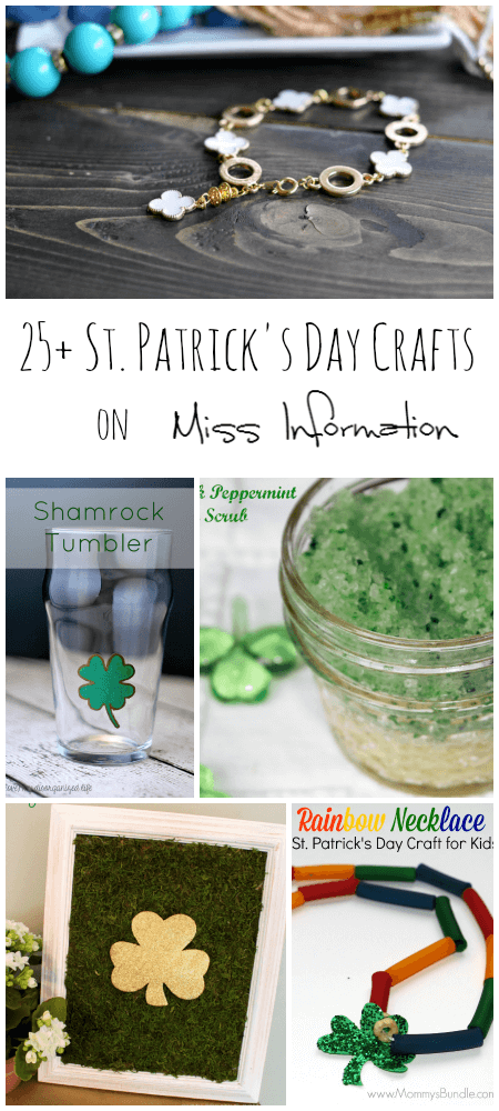 Over 25 St. Patrick's Day crafts for all your needs, banners, signs, jewelry and even drink ware.!