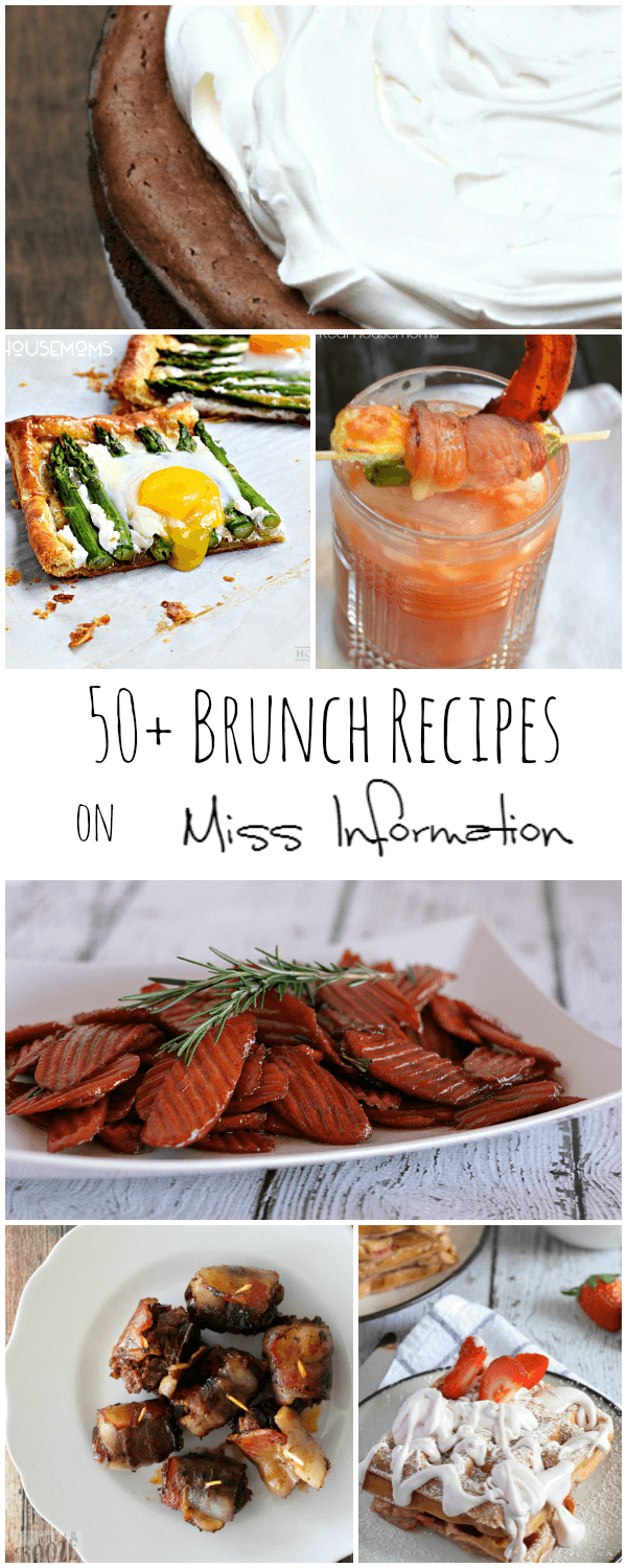 More than 50 delicious recipes perfect for any brunch! Appetizers, drinks, sides and desserts everyone will love!