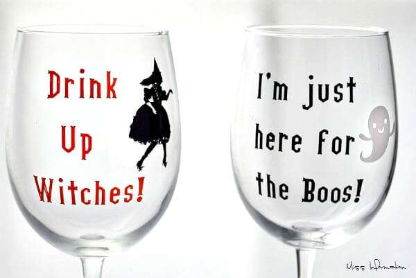 Diy Halloween Wine Glasses With Cricut Vinyl Miss