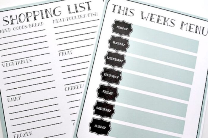 Weekly Menu Planner and Grocery Shopping List Printables