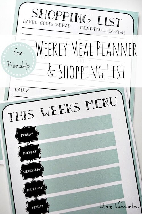 monthly meal planner template with grocery list - weekly menu planner shopping list free printable