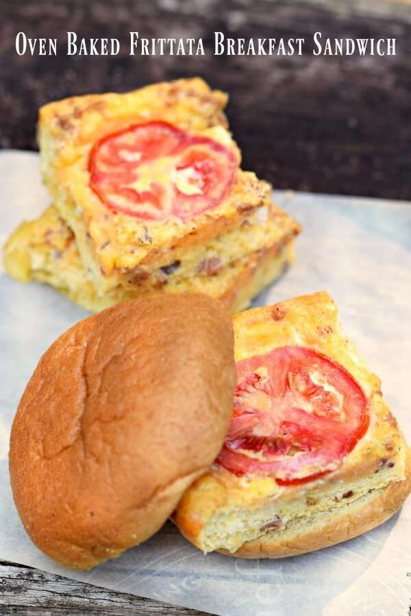breakfast with this oven baked frittata recipe, made into sandwiches ...
