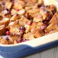French Toast Bake with Eggnog and Cranberries