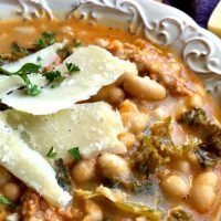 Spicy Sausage and White Bean Soup a One Pot Dinner