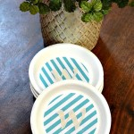 Making Coasters is easy with terra-cotta plant saucers. It