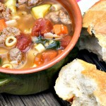 Hearty and Healthy this turkey sausage minestrone can be made quickly on the stove top or slowly in your crockpot for a family friendly dinner