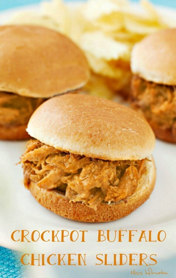 3 crockpot buffalo chicken sliders on a plate with chips