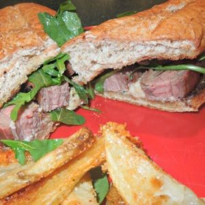 Blue Cheese and Flank Steak Sandwiches with oven baked french fries