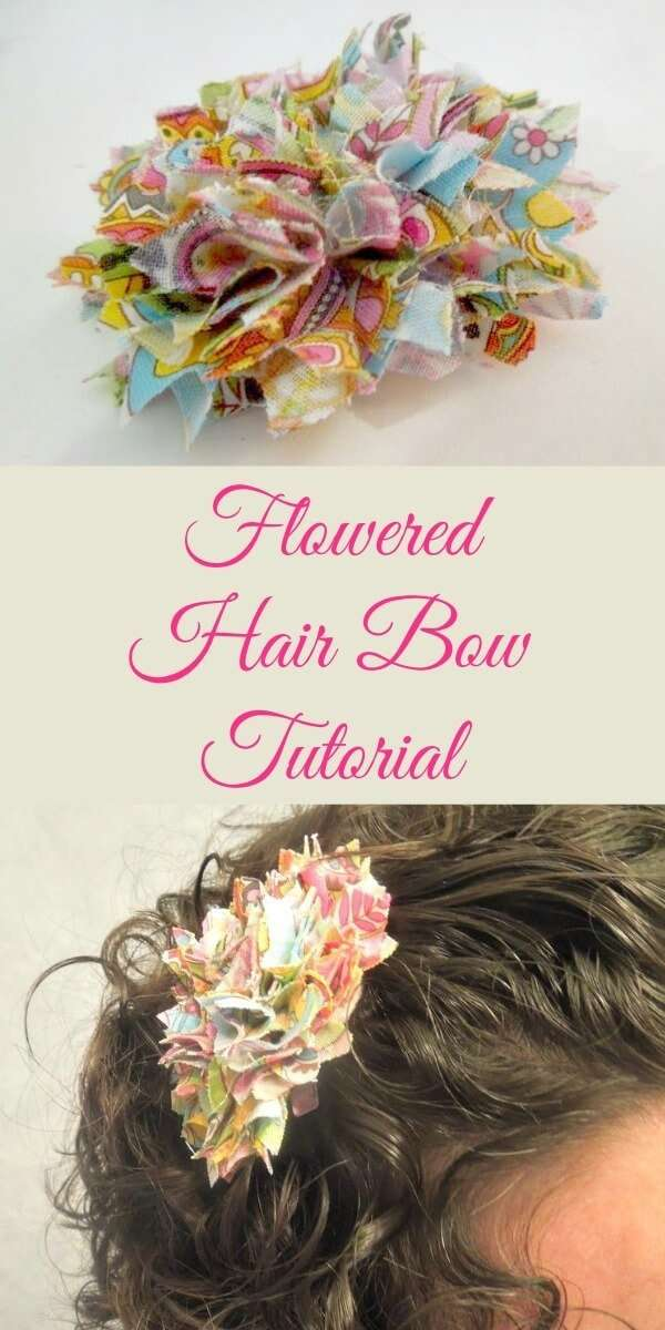 How to make this flowered hair bow with your left over fabric scraps!