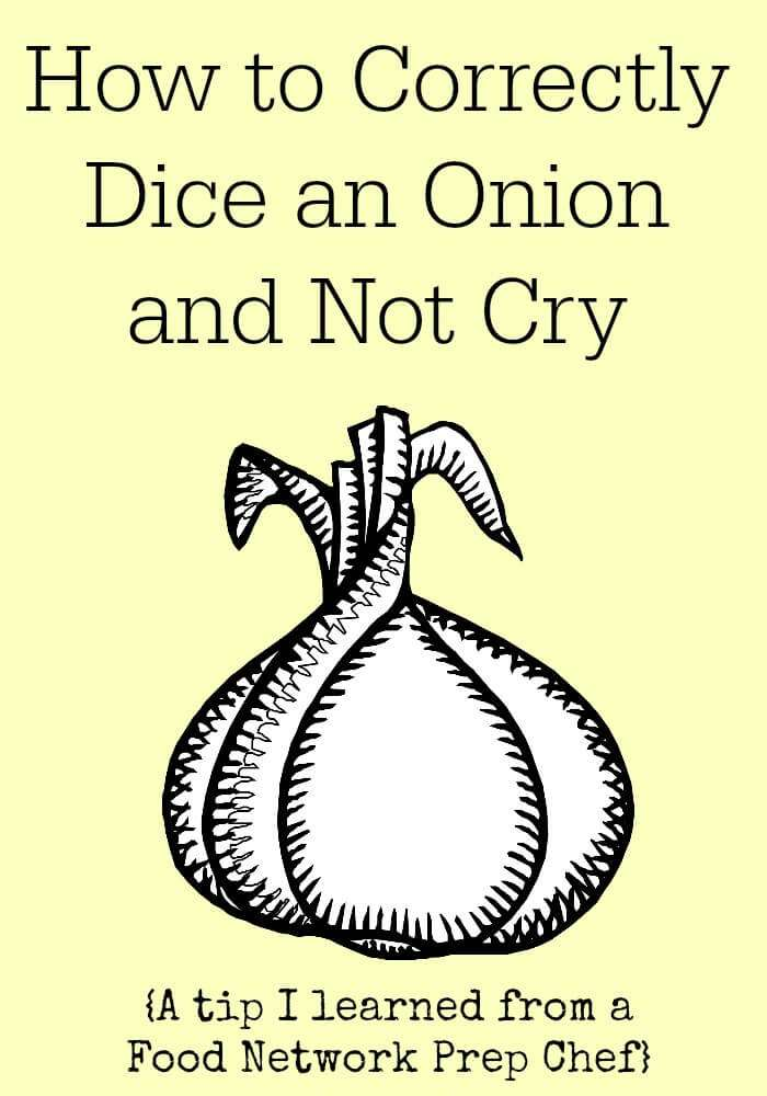 Learn how to correctly dice an onion frustration free and the secret of how to cut onions without crying from a Food Network Chef.
