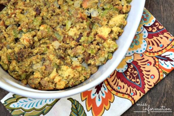 My favorite Thanksgiving side dish, my mothers traditional cornbread dressing or stuffing depending on how you cook it!
