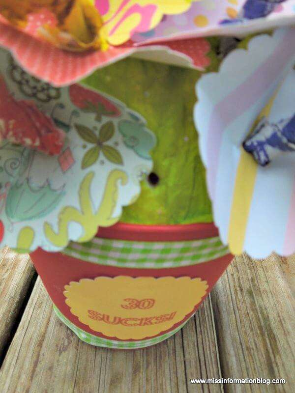 This fun gift is perfect for any milestone birthday and it's easy to make with a craft punch, suckers and an inexpensive flowerpot