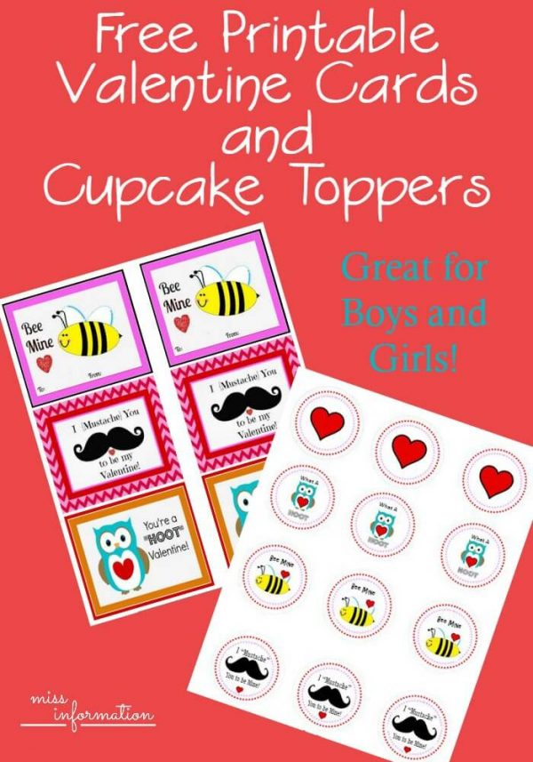 Free Printable Valentine Cards and Cupcake toppers - different designs to choose from great for boys and girls