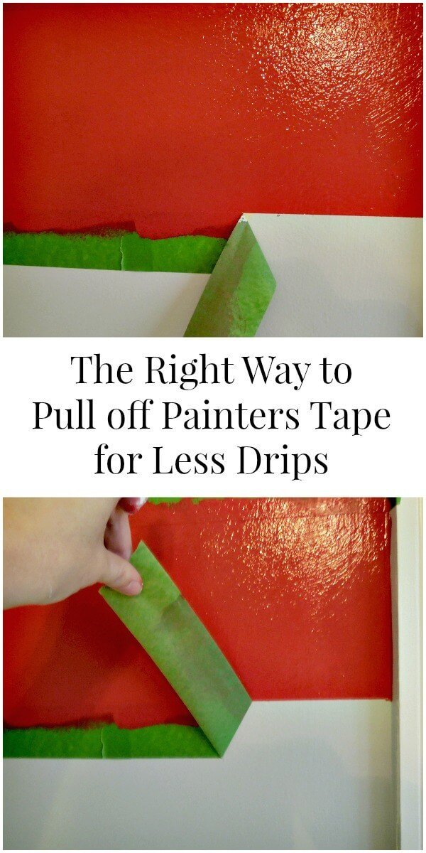 The right way vs. The wrong way to pull off painters tape to prevent drips and peeling