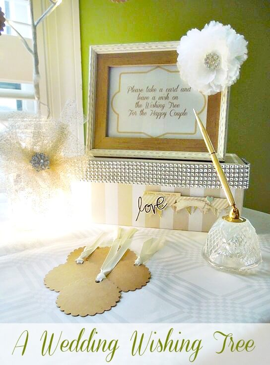 A great alternative to a guest book this wedding wishing tree. Have guest write a wish or piece of advice on a card and clip it to the tree. After the wedding store it in the keepsake box.