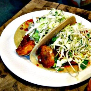 Shrimp Tacos with a Spicy Jalapeno Slaw