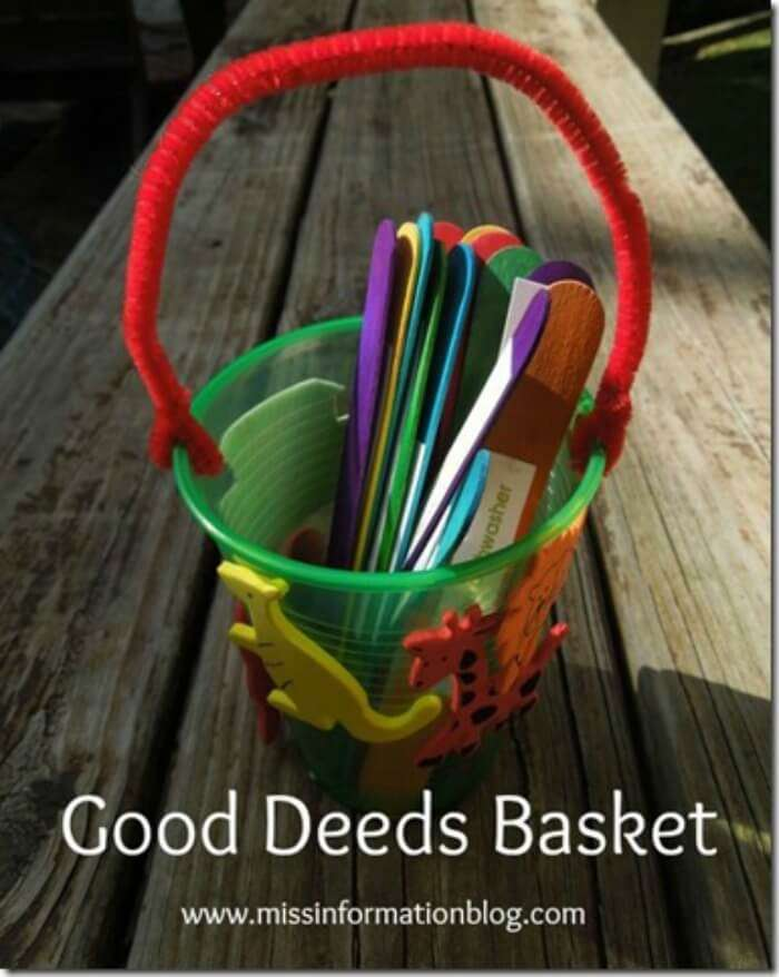 Make this cute good deed basket with kids, they can pick one deed per day or week, includes free printable