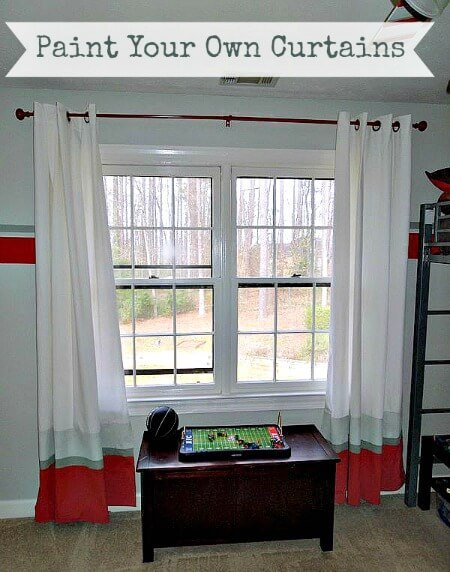 How to Paint Fabric Curtains - I painted these stripes with the paint I used on the wall in my son's bedroom. It was so easy and the curtains were from Ikea - Click it to see how!