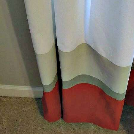 How to Paint Curtains - I painted these stripes with the paint I used on the wall in my son's bedroom. It was so easy and the curtains were from Ikea - Click it to see how!