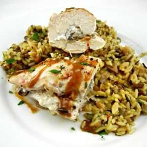 Mushroom and Goat Cheese Stuffed Chicken with an Easy Pan Sauce is amazing served with wild rice for a special dinner with friends or a special someone, ist's and easy showstopper