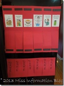 Kids just flip up the flap when they are done with chores / Miss Information Blog/ #backtoschoolweek #organization #chore chart