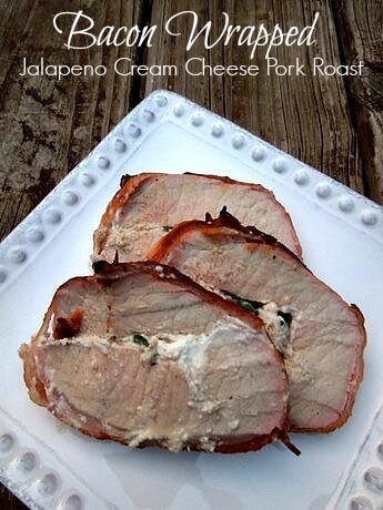 Bacon wrapped jalapeno cream cheese pork roast missinformationblog.com #baconmonth #grill recipes #pork
