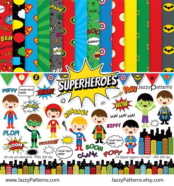 Superheroes scrapbook paper and clip art download