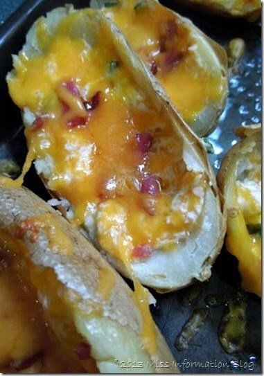 Jalapeno Popper Potato Skins /Miss Information Blog/ #potatoskins #baconmonth #jalapenopopper #tailgate