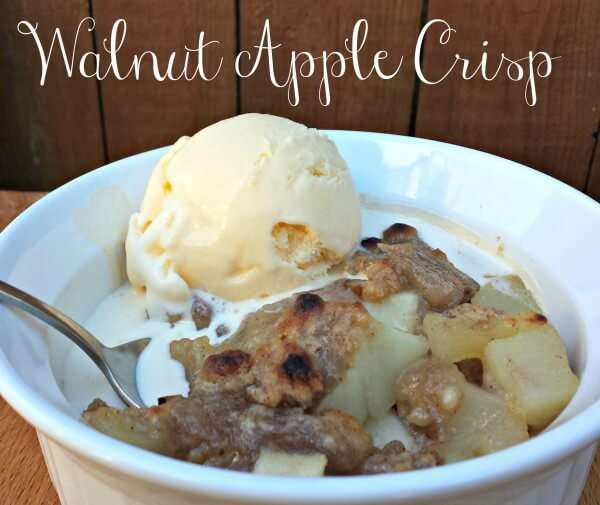warm apple crisp serve with ice cream for the perfect fall dessert