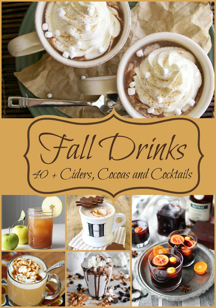 Over 40 of the best fall drink recipes with ciders, cocoas,lattes, cocktails and more! Cant wait to try these this year!