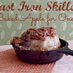 Baked Apple in a skillet stuffed with oats and walnuts is perfect for fall