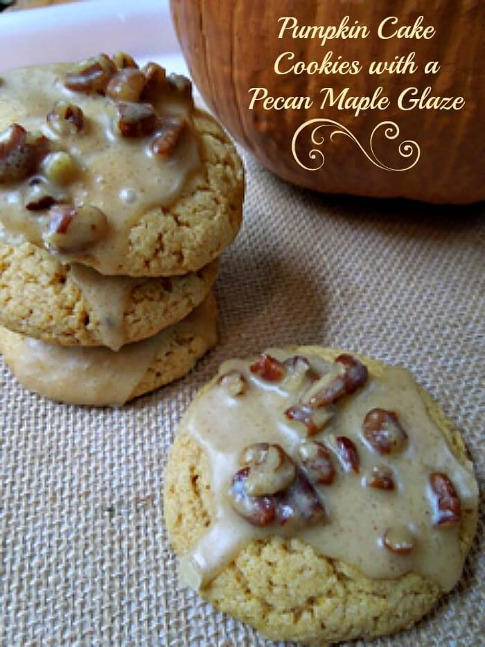 Pumpkin Cake Cookies with Maple Pecan Glaze