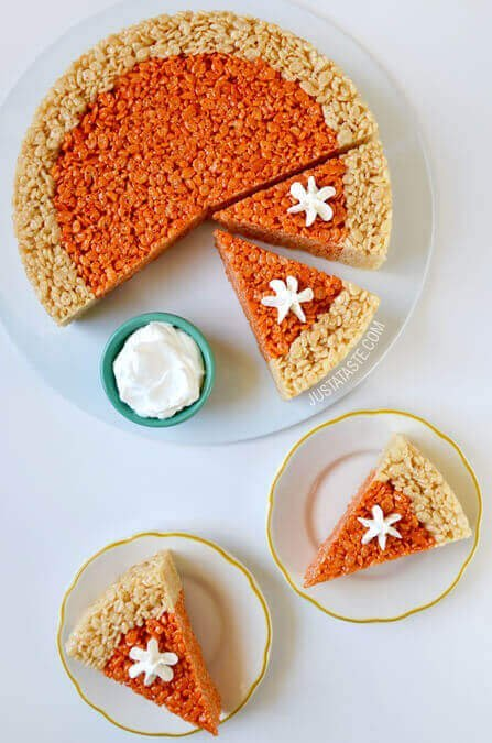 pumpkin-pie-rice-krispies-treats-kid-friendly-thanksgiving-recipes