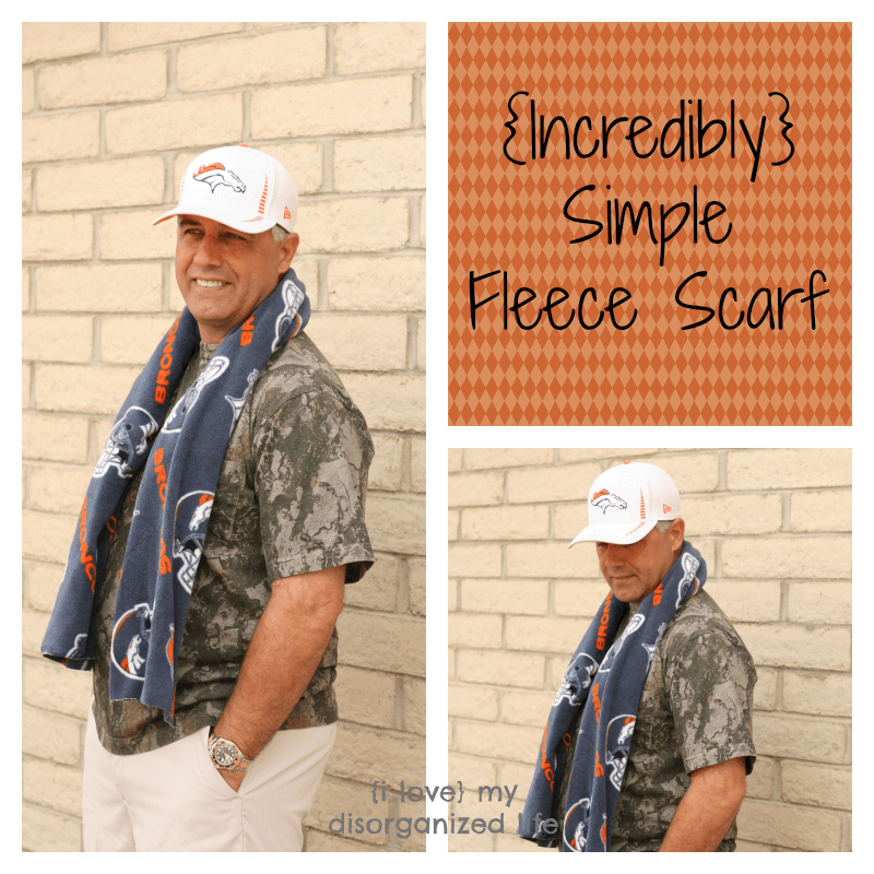 Incredibly simple fleece scarf to keep you warm and cozy. It's so easy only 2 steps! Miss Information Blog #Fleece #Scarf #sewing #craft
