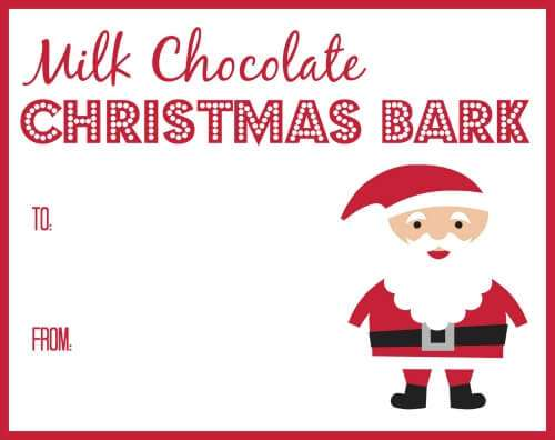 Printable Tags for Milk Chocolate Christmas Bark and the recipe
