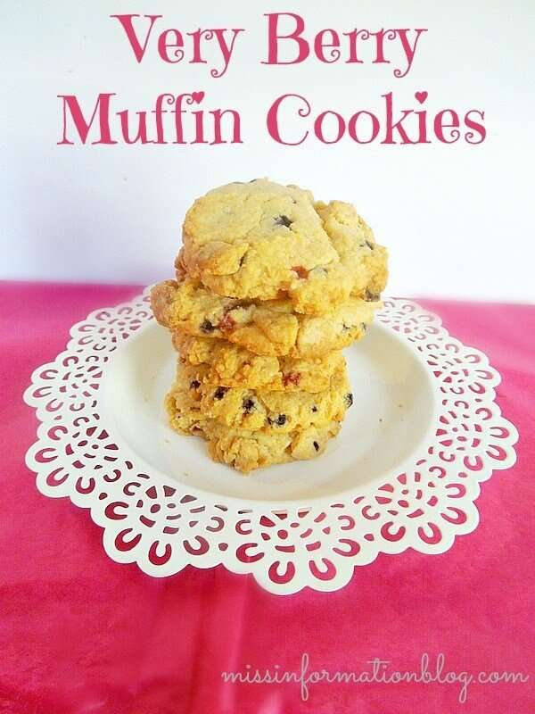 Very Berry Muffin Cookies made with muffin mix and chocolate chips. They taste like cheesecake!