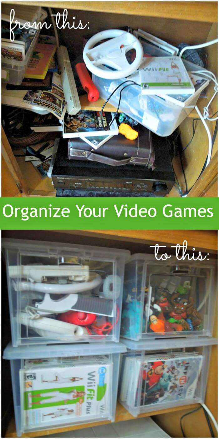 Organize your kids video games for less than $20.00 and go from mess to organized with these drop front totes