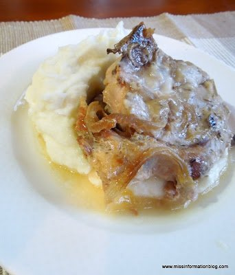 Mushroom and Onion Porkchops in the crockpot. This 3 ingredient dish is so yummy and takes 5 minutes to throw together