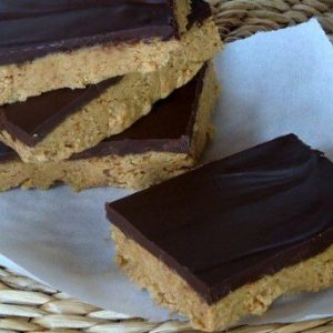 I found this recipe for Dark Chocolate Peanut Butter bars in my grandmothers recipe box, creamy peanut butter and rich dark chocolate make these better than any Resees peanut butter cup