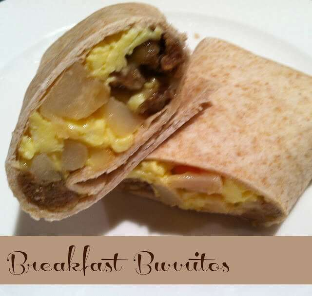 Yummy Breakfast burritos, find out how to make a bunch and freeze for a quick morning breakfast