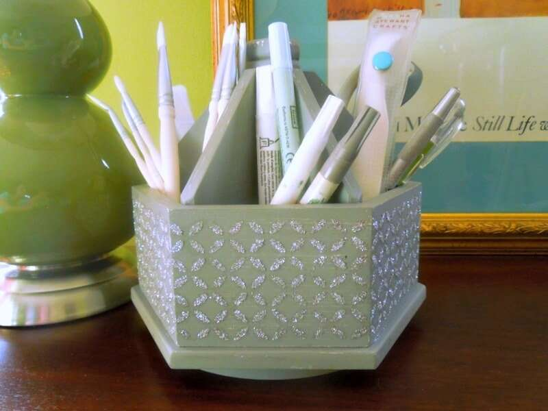 Glam up anything including a desk caddy with Mod Podge and vinyl stencils