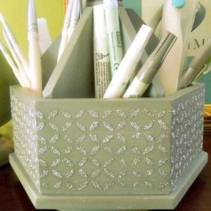 Mod Podge and Glitter Desk Tool Organizer