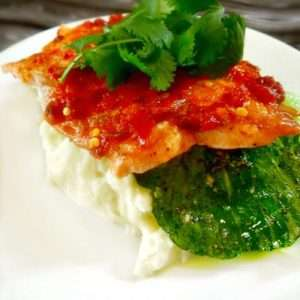Grilled Sambal Salmon with Bok Choy and Wasabi Mashed Potatos