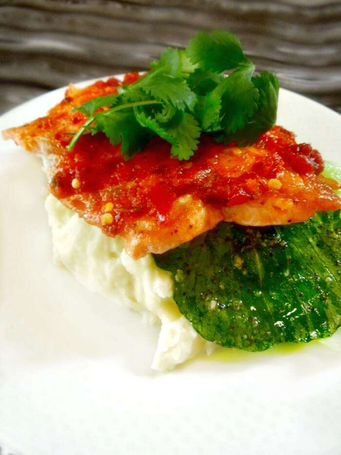 Sambal Glazed Salmon with Bok Choy and Wasabi Mashed Potatoes