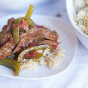 Green Pepper Steak made in your crockpot or slow cooker is an easy comfort meal with rich tender steak and slightly crisp green peppers it's a family favorite!